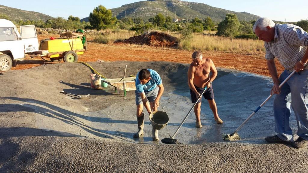 8. Labor de humidificación de la lechada